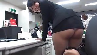 Japanese MILF is humiliated at work ! her skirt is way too short !