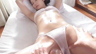 Sensual massage with white bikini