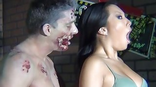 Behind the scenes on Asa Akira's zombie Halloween set
